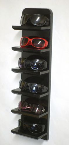 24 Black Wall Mount Sunglasses Display Shelf Eyeglass Rack Storage