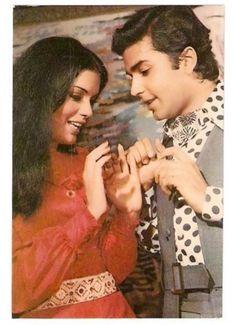 Zeenataman & Vijay Arora in Yaadon Ki Barat Indian Goddess, Indian Star, Vintage Bollywood, Hindi Movies, Bollywood Stars, In The Heart, Mona Lisa, Cinema, Celebs