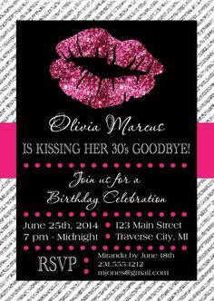 Lips Invitation - Printable for Birthday or Bachelorette Party Kissing Goodbye Invite