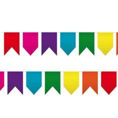 Un banderín de colores con banderas de distintas formas, para fiestas originales - de www.fiestafacil.com, €4,90 / An original pennant banner, from www.fiestafacil.com