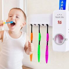 Hands Free Toothpaste Dispenser Automatic Toothpaste Squeezer and Toothbrush Holder Set for 5 Brushes Tote Organization, Bathroom Organization, Organizing, Toothpaste Squeezer, Stylish Kitchen, Air Pollution, Mobile Home, Tupperware, Toothbrush Holder
