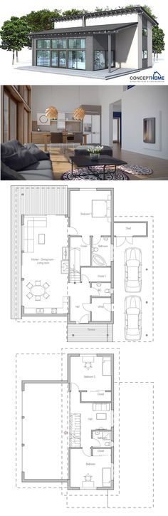 House Plan Small Home Plan, Small House Plan, New Home Plan Image Size: 794 x 2437 Source Contemporary House Plans, Modern House Plans, Modern House Design, Small House Plans, House Floor Plans, Casas Containers, Home Design Plans, Facade House, House Layouts