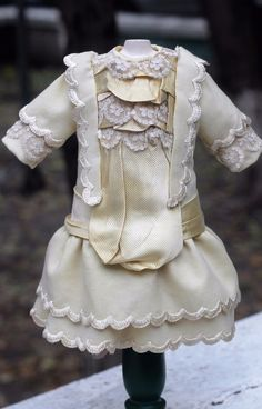 Exquisite antique doll fine wool &silk dress, German or French antique Bebe doll