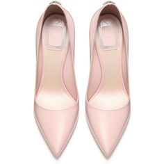 POWDER PINK CALFSKIN LEATHER PUMP, 10 CM ❤ liked on Polyvore featuring shoes, pumps, pink shoes, calf leather shoes, pink pumps and calfskin shoes