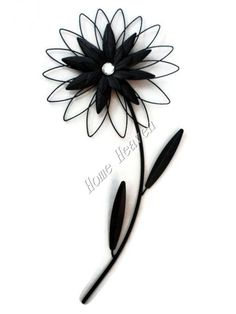 LARGE BLACK DIAMANTE GEM FLOWER METAL PLAQUE WALL ART