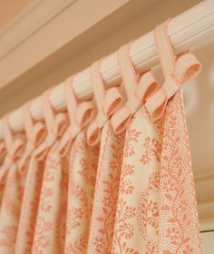 tab top curtains with bows - how adorable!