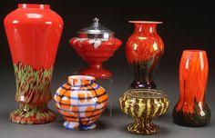 SIX CZECH ART DECO GLASS VASES, CIRCA 1930'S. : Lot 254