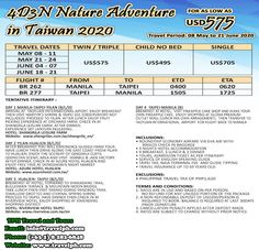4 DAYS NATURE ADVENTURE IN TAIWAN 2020 (With Round Trip airfare via Eva Air) Minimum of 2 persons  For more inquiries please call: Landline: (+63 2) 8 282-6848 Mobile: (+63) 918-238-9506 or Email us: info@travelph.com #Taipei #Taiwan #TravelPH #TravelWithNoWorries Taipei Taiwan, Travel Dating, Nature Adventure, Round Trip, Day