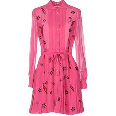 Miu Miu Short Dress (2'505 CHF) ❤ liked on Polyvore featuring dresses, fuchsia, fuchsia pink dress, fuschia dress, long sleeve short dress, shirt dresses and short dresses