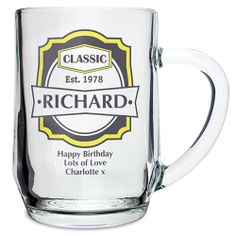 Personalised Classic Glass Tankard  from Personalised Gifts Shop - ONLY £9.99