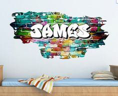 Full Colour Personalised Graffiti Name Brick Wall  para la habitacion de niños