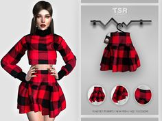 Sims 4 Collections, Sims 4 Dresses, Sims Community, Electronic Art, Sims Cc, Outfit Sets, Two Piece Skirt Set, Plaid, Female