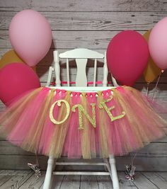 Pink and Gold High Chair Tutu- High Chair Skirt- Highchair tutu- Highchair skirt-White and Gold 1st Birthday- White and Gold HighChair Tutu by AvaryMaeInspirations on Etsy