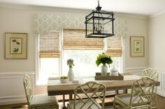 Love the natural bamboo blinds with the upholseterd valance. Liz Carroll Interiors