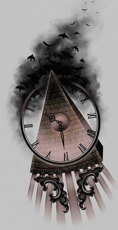 тату эскизы часы