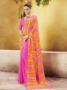 Pink/Orange Formal Georgette Saree, Price:INR 1238