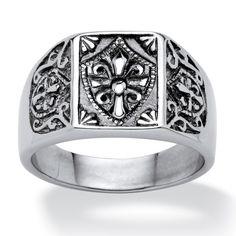 <li>Men's cross and crest signet ring</li><li>Stainless steel jewelry</li><li><a href='http://www.overstock.com/downloads/pdf/2010_RingSizing.pdf'><span class='links'>Click here for ring sizing guide</span></a></li>