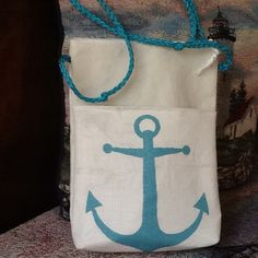 Nautical sailcloth crossbody hipster purse handbag pouch hands free recycled sail cloth, pocket, gadgets, zipper top, anchor, eco-friendly by Sailknot on Etsy