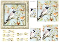 A pretty framed picture of a songbird sitting on a branch with little blossom flowers. Add up to 4 layers. Great design for many occasions like birthdays, get well soon or just to let someone know you ate thinking of them. Christmas Sentiments, Pink Stars, Printable Crafts, Gold Pattern, Blossom Flower, Card Designs, Soft Colors, Pet Birds, Party Time