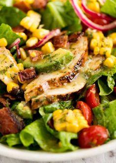 Close up of chicken in Lemon Chicken Salad salad salad salad recipes grillen rezepte zum grillen Salad Recipes Video, Healthy Salad Recipes, Healthy Food, Savory Salads, Vegan Food, Food Food, Lemon Chicken Salad Recipe, Salad Chicken, Green Salad With Chicken