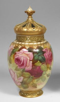 Royal Worcester Covered Potpourri Jar, Handpainted by Walter Sedgley in the Hadley Rose design. Remove the top and the jar doubles as a beautiful vase for roses from a country garden. Antique China, Vintage China, Fine Porcelain, Porcelain Ceramics, China Painting, Rose Design, Potpourri, Glass Art, Pottery