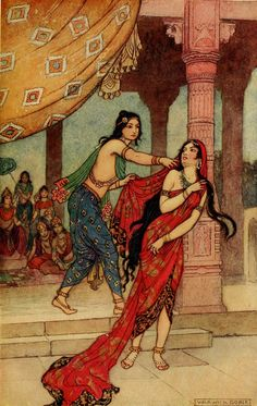 Dushashan dragged Draupadi, his sister-in-law, by her hair in the assembly of Kurus, including the Pandavas, Bhisma, Drona, King Dhritarastra, Karna, and the one hundred Kuru princes. There he tried to disrobe her. Draupadi ran to and fro, pleading to all great personalities present for help, while the rascal Dushashan chased her, trying to grab her sari. No one present came to her aid. Only the supreme Lord Krishna hearing his devotee's heartfelt call ultimately saved her.