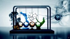 water abstract wood fire earth elements digital art artwork newtons cradle air four elements cg fantasy wome female girl wind
