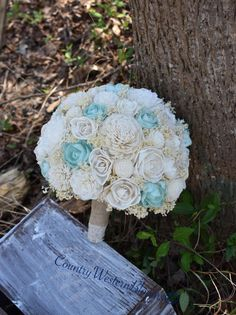 Wedding Bouquet Mint Bouquet Rustic by CountryWesternBlooms