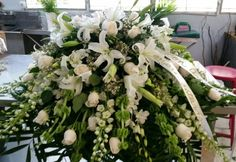 Beautiful white casket cover