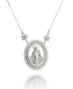 colar da moda nossa senhora com zirconias cristais e banho de rodio semijoias religiosas