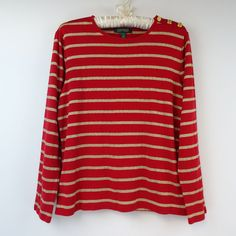 Lauren Ralph Lauren Women Large Long Sleeve Shirt Red Gold Stripe W287 #LaurenRalphLauren #KnitTop