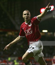 Henrik Larsson of Manchester United celebrates his subsequently disallowed goal during the FA Cup sponsored by E.ON Fourth Round match between Manchester United and Portsmouth at Old Trafford on January 27, 2007 in Manchester, England.