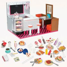Our Generation dolls like to have fun with their friends. With this Our Generation Retro Diner, your dolls can drink milk shakes and eat pie all night long! With working lights and music to listen to, 18-inch Our Generation dolls can have a blast in this very cool retro diner.