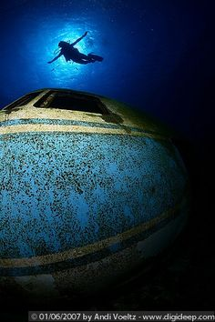 Airplane Wreck's Cockpit. Scuba diving spot in Curacao.