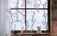 Close-up van kronkelige berkentakken met versieringen in glazen melkflessen die voor een raam staan