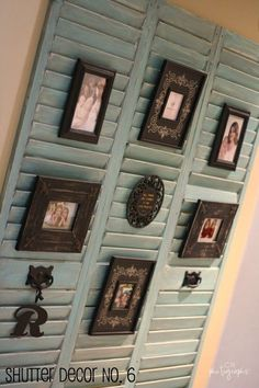 Not sure if these were shutters or louvered bifold doors, but the idea could be used with either.  Makes a nice background area for displaying photos and artwork.