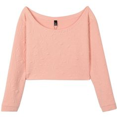Choies Pink Round Neck Long Sleeve Loose Crop T-shirt With Geometry... ($14) ❤ liked on Polyvore