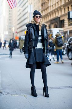 blakc and white-grey ruffle peplum skirt-beanie-place up booties-moto jacket-winter outfits-what to wear when its freezing-nyfw 2016 street style-hbz