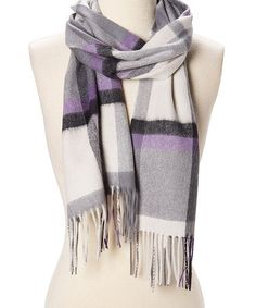 Complete your chilly-day ensemble with luxurious cozy comfort with this chic cashmere scarf. x cashmereDry cleanMade for ZulilyImported Joe Fresh, Cashmere Scarf, Womens Scarves, That Look, Gifts For Her, Plaid, Gray, Chic, Amp
