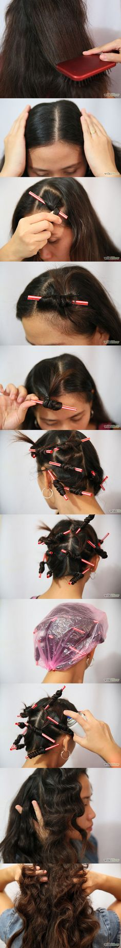 6 Easy Ways to Curl Your Hair with Drinking Straws / Straw Set Tutorials - Fashion Diva Design