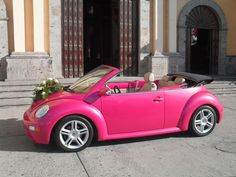 My beautiful Pink Car - VW New Beetle Convertible :D this time it was used for a Quinceañera (Mexican Sweet 16).