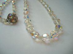 Vintage Sherman clear crystal beaded necklace by HoneybeedDesigns