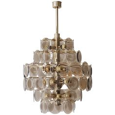 Large Vistosi Chandelier with 71 Murano Glass Discs   From a unique collection of antique and modern chandeliers and pendants at https://www.1stdibs.com/furniture/lighting/chandeliers-pendant-lights/
