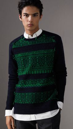 Fair Isle Detail Wool Cashmere Sweater in Bright Green - Men | Burberry United States