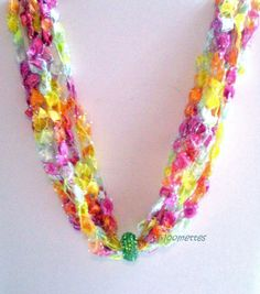 Crocheted Casual Necklace Peridot Summer Colorful Crochet Necklace Ladder Ribbon Lightweight Necklace Gift for Her