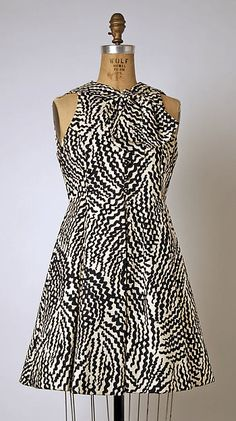 black and white tribal print sleevles minidress by Geoffrey Beene; 1963