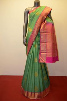 Classic Wedding Kanjeevaram Silk Saree- Two Tone