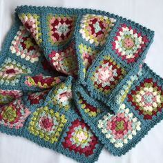 Handmade crocheted Granny Square scarf by DaisyPatchUK on Etsy
