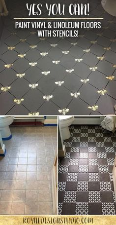Love this chalk paint and stenciling on a linoleum for Can you paint vinyl tile