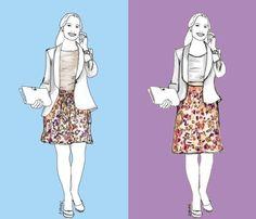 Der Vorher-Nachher-Vergleich zeigt: Mit nur ein paar kleinen Änderungen an Proportionen und Silhouette sieht Frau viel schlanker aus.